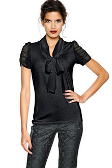 Heine Ruched Sleeve Neck Tie Top - 252028