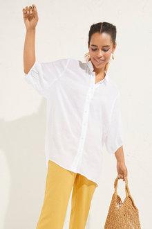 Emerge Button Up Longline Shirt - 252042
