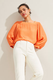 Emerge Square Neck Balloon Sleeve Top - 252043