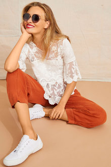 Emerge Lace 3/4 Sleeve Top - 252044