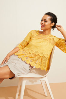 Emerge Lace 3/4 Sleeve Top - 252046