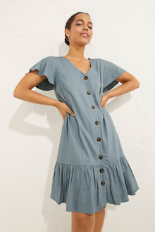 Emerge Linen Ruffle Hem Dress - 252050