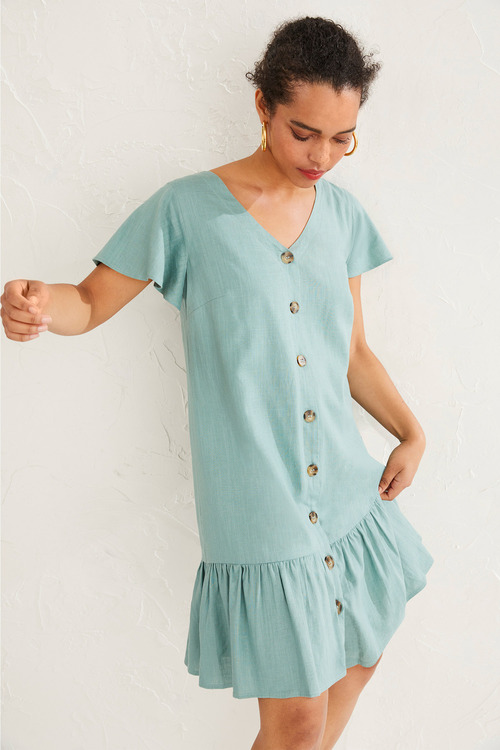 Emerge Linen Ruffle Hem Dress