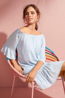Emerge Linen Blend Ruffle Dress - 252053
