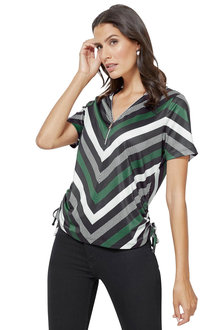 Euro Edit Stripe Zip Neck Tee - 252087