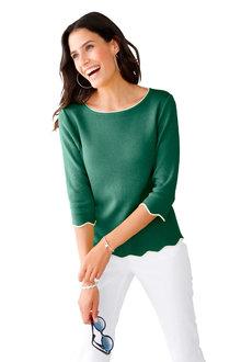 Euro Edit Contrast Scallop Sweater - 252088