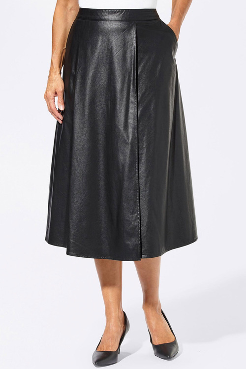 Euro Edit PU A-Line Midi Skirt