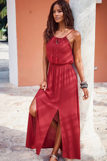 Urban Neck Tie Maxi Dress - 252172