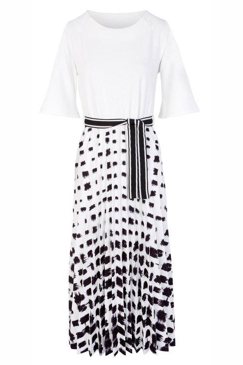 Kaleidoscope Pleated Print Dress