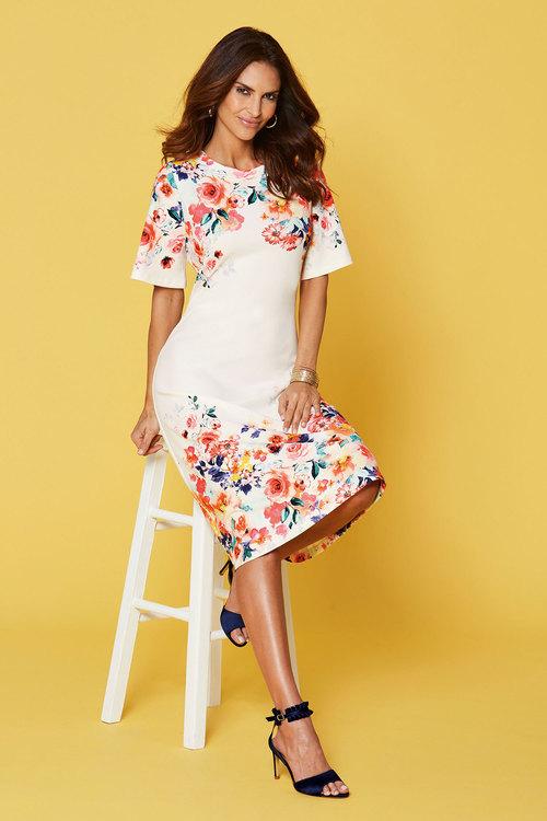 Kaleidoscope Flute Sleeve Floral Dress