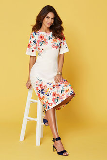 Kaleidoscope Flute Sleeve Floral Dress - 252182