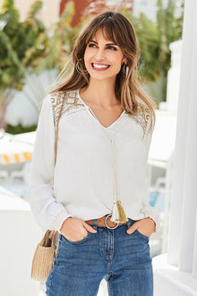 European Collection Embroidery Trim Crinkle Top - 252183