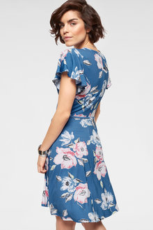 Urban Printed Cross Over Dress - 252199