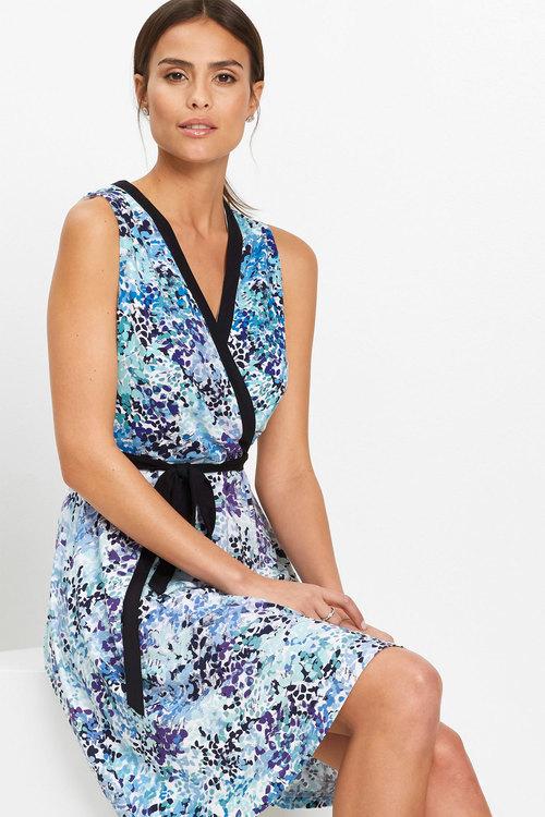 Euro Edit Printed Wrap Jersey Dress