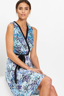 Euro Edit Printed Wrap Jersey Dress - 252229