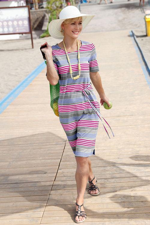 Euro Edit Stripe Midi Dress