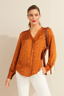 Capture Animal Jacquard Pintuck Blouse - 252235
