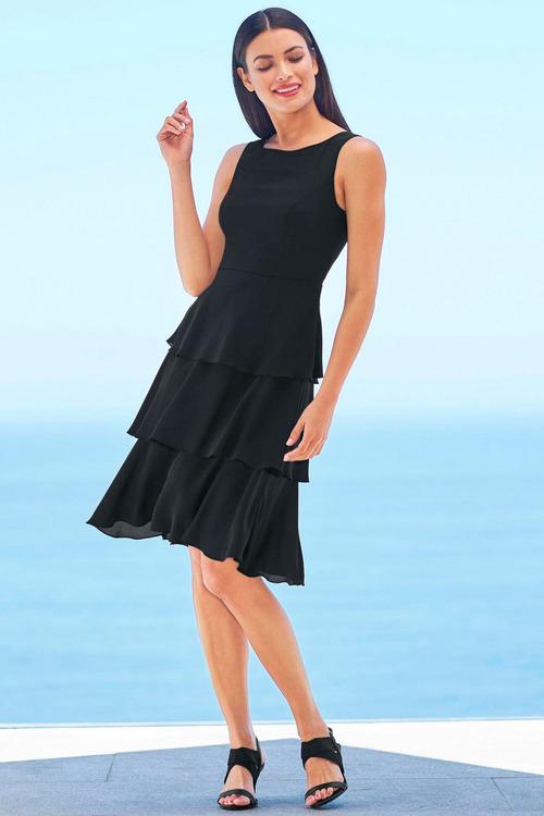 Heine Black Ruffled Dress