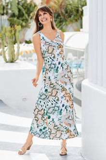 European Collection Printed Jersey Maxi Dress - 252276