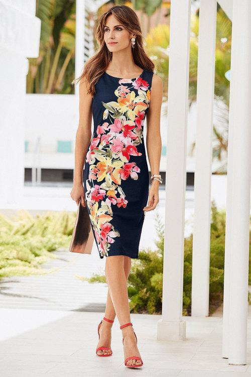 European Collection Floral Scuba Dress