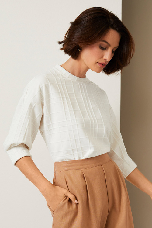Grace Hill Pleat Cuff Sweater Top
