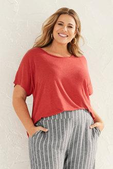 Sara Oversized Linen Tee - 252288