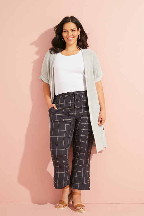 Plus Size - Sara Longline Split Hem Cardi