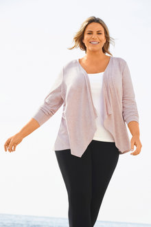Plus Size - Sara Drape Cardi - 252293