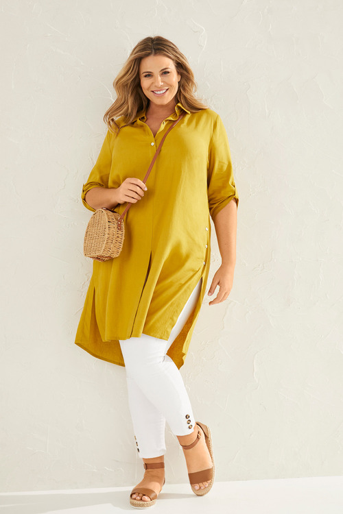 Sara Side Button Linen Shirt