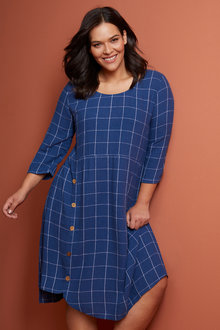 Sara Linen Blend Button Dress - 252314