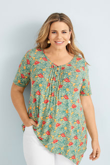 Sara Button Pleat Print Top - 252315