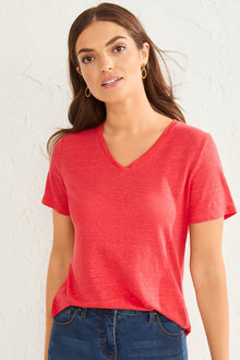 Capture Linen Classic V Neck Tee - 252332