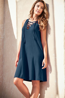 Capture Cotton Tie Neck Dress - 252334