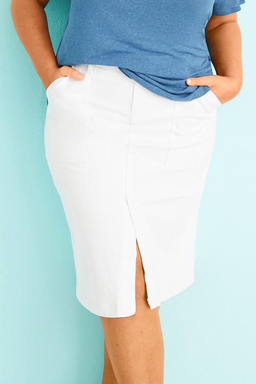 Plus Size - Sara Patch Pocket Denim Skirt