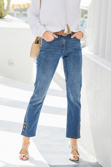 European Collection Button Hem Jean - 252368