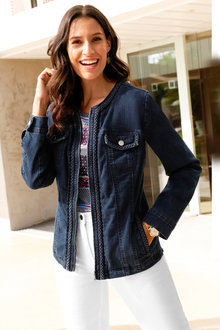 Euro Edit Braid Detail Denim Jacket - 252373