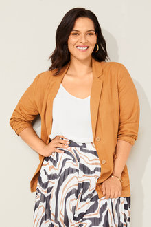 Sara Linen Patch Pocket Blazer - 252382