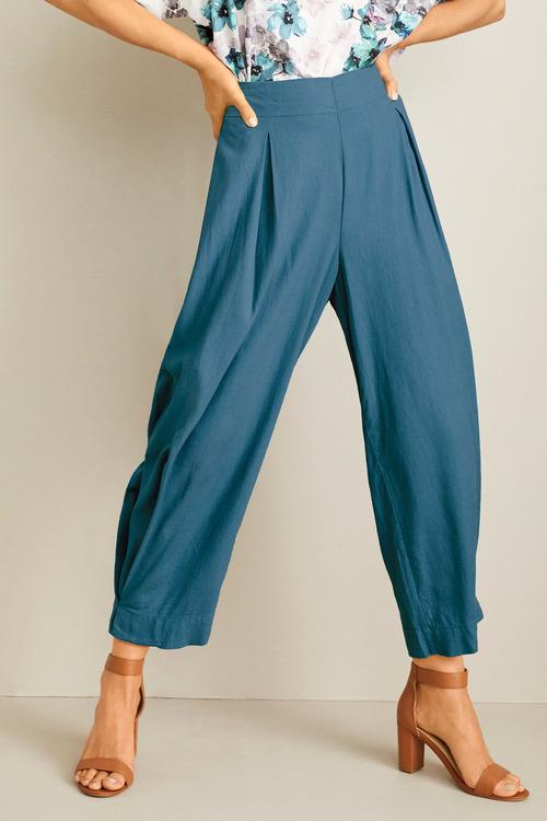 Grace Hill Linen Blend Pleat Crop Pant