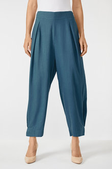 Grace Hill Linen Blend Pleat Crop Pant - 252473