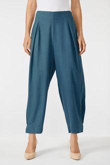 Grace Hill Linen Blend Pleat Crop Pant - 252473