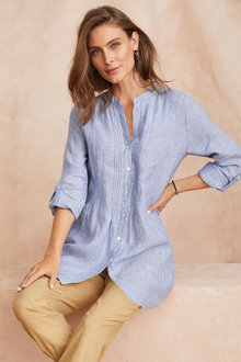 Grace Hill Linen Blend Longline Shirt - 252475