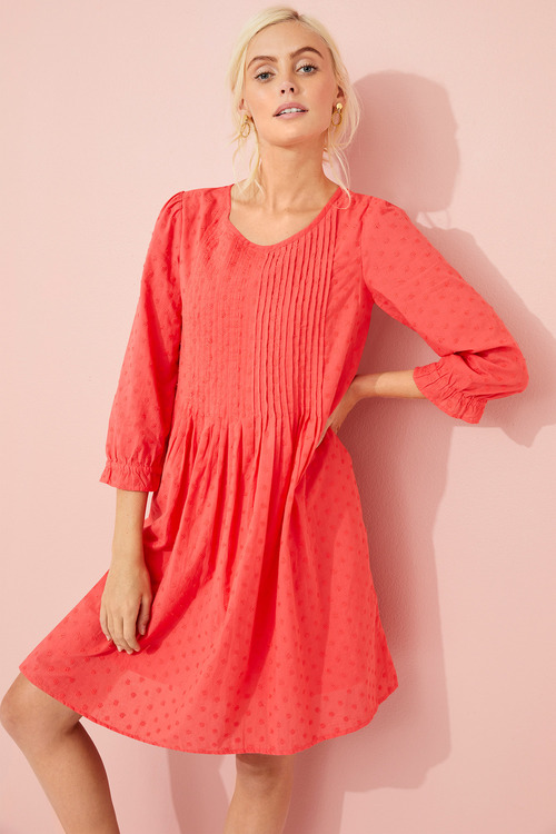 Emerge Embroidered Pintuck Dress