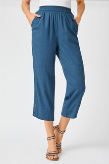 Capture Linen Blend Button Cuff Crop - 252493