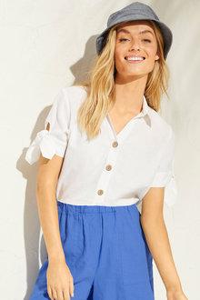 Capture Linen Blend Tie Sleeve Shirt - 252498