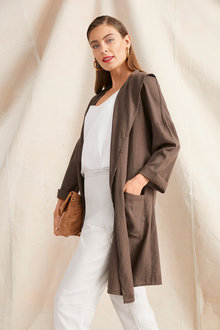 Grace Hill Linen Blend Longline Jacket - 252524