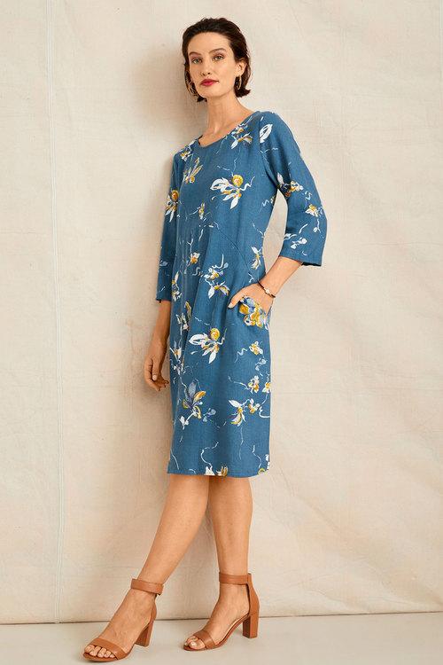 Grace Hill Linen Blend Pocket Dress