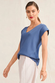 Grace Hill V Neck Knit Top - 252530