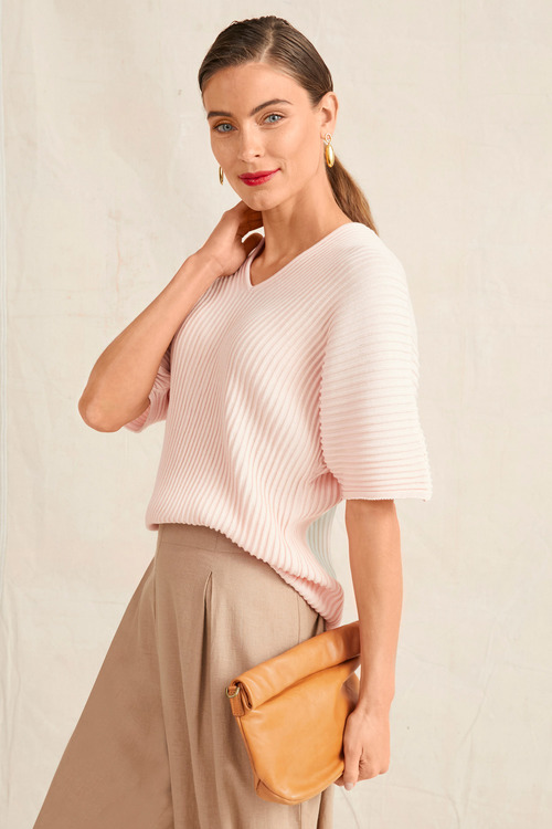 Grace Hill Ribbed Detail Knit Top