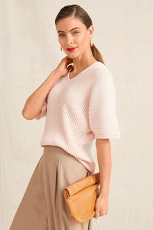 Grace Hill Ribbed Detail Knit Top - 252531