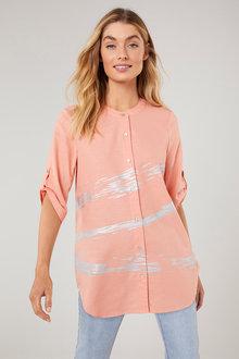 Capture Linen Blend Foil Print Shirt - 252549
